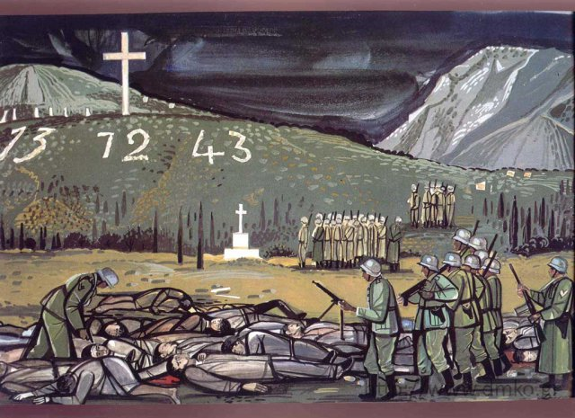 """Kalavrita-The Execution,"" colored tempera by Tassos Alevizos, dim. 29X42, 1985"