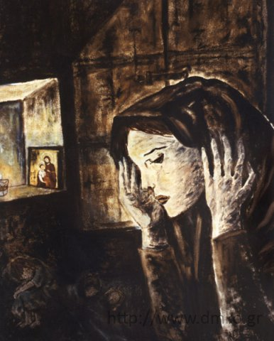 """Kalavrytan Mother."" Oil painting by painter Aglaia Kyriakopoulou-Kanellopoulou. Painted in 1985."