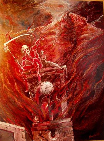 """The clock of doom,"" by painter Roussetos Panagiotakis"