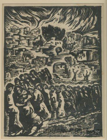 """The Holocaust of Kalavryta."" Woodcut by painter Takis Marthas."