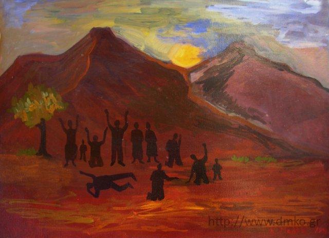 «Η σφαγή των Καλαβρύτων», έργο του ζωγράφου Νικολάου Κ. Μαλλιά